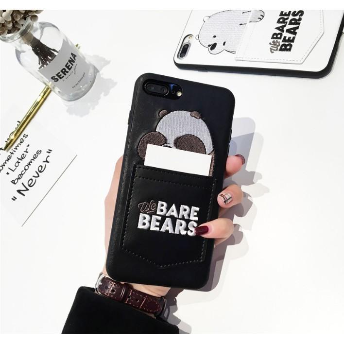 Beruang Kartun Lucu Bordir Kulit Casing Ponsel dengan Saku Kartu untuk iPhone Spesifikasi: IPhone6 (4.7)