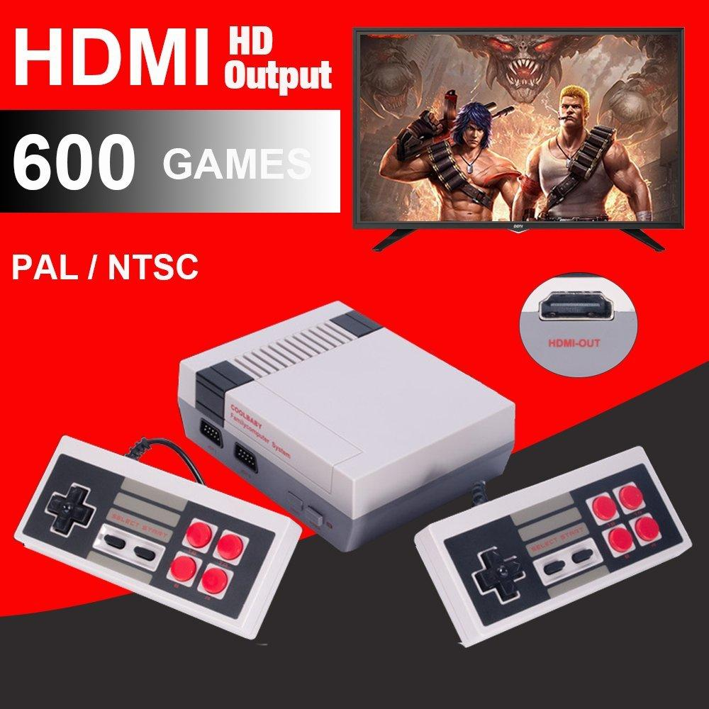 Mini game consoles HDMI HD machine supports 8-bit video game consoles video games retro game console fc red and white classic game console 600 games - intl
