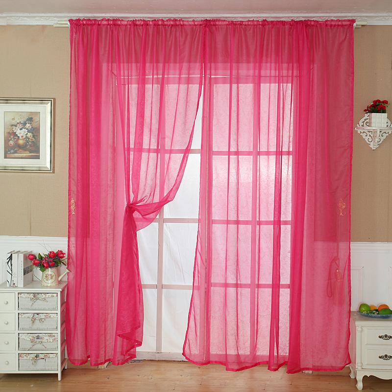 Denetytres Solid Color Tulle Door Window Curtain Drape Panel Sheer Scarf Valance RD