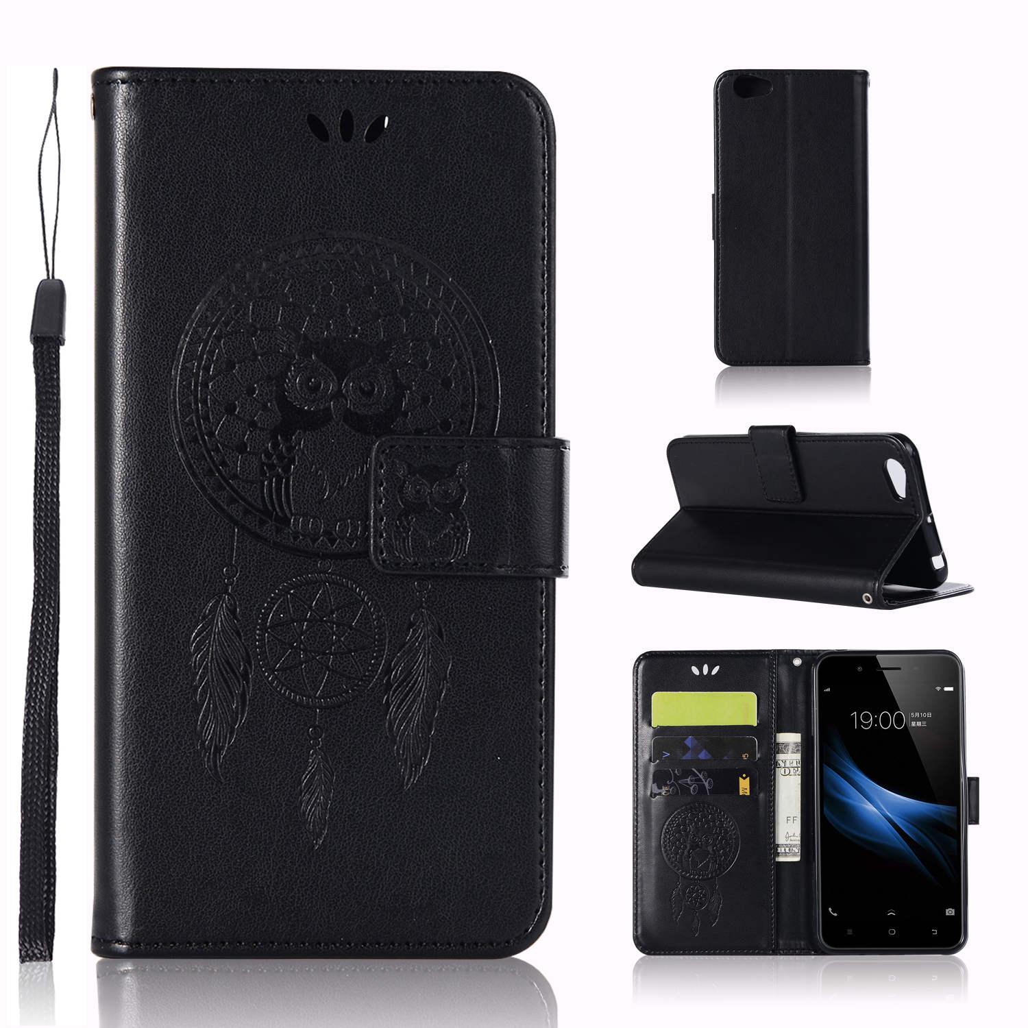 Wallet Case for Vivo Y66 Emboss Leather Phone Case Owl Shockproof Stand Flip Case Windbell Design