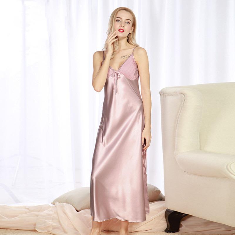ff3cff7335 Women Summer Night Dress Nightgown Silk Satin Nightdress Night Gown Plus  Size Lace Nightwear Maxi Long