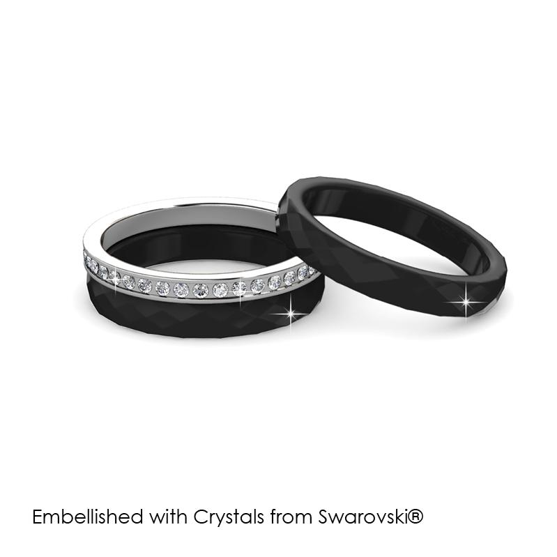 Tri Ceramic Ring (Black) - Embellished with Crystals from Swarovski®