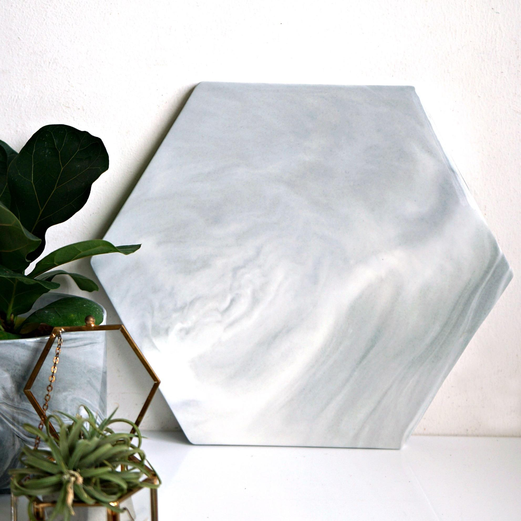Buy 28Cm Greyish Hexagonal Marble Slab Cheap On Singapore