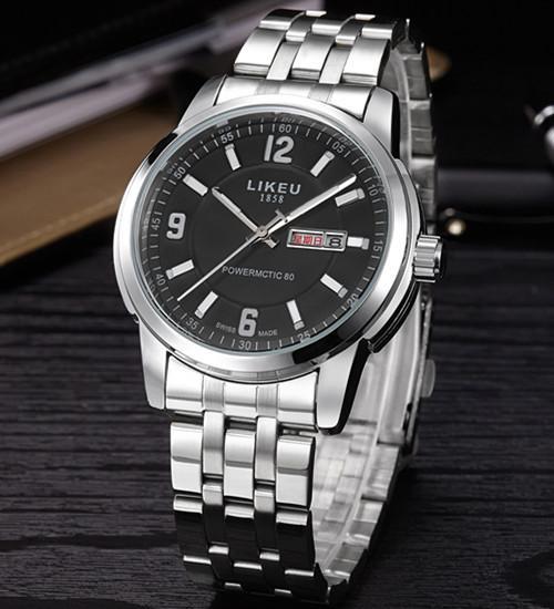 Men watch Korean fashion week double calendars business strip quartz watch waterproof luminous belt Malaysia