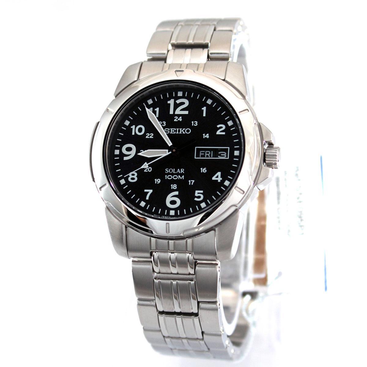 Seiko Seiko Solar Silver Stainless Steel Case Stainless Steel Bracelet Mens Sne095P1 Lowest Price