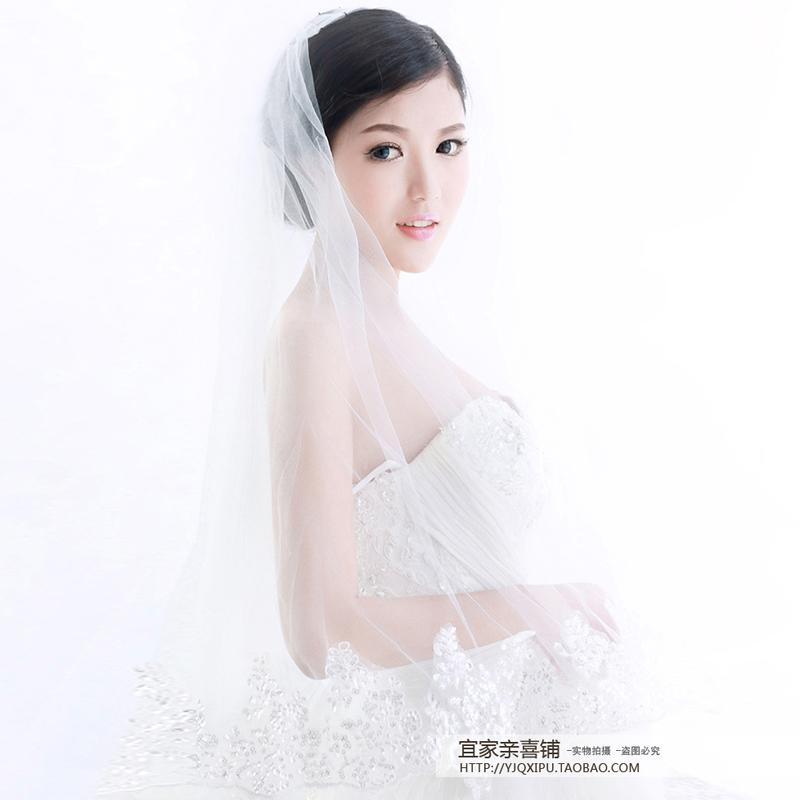 Upacara pernikahan Model Korea pengantin wanita model panjang berekor panjang super panjang putih .