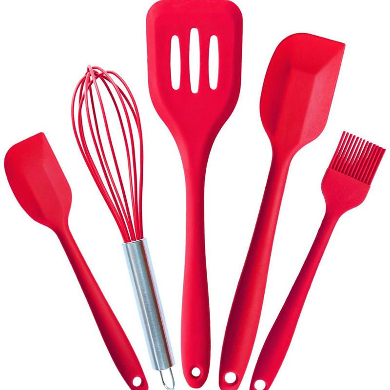 Approved Silicone Cooking Tools Silicone Kitchen Utensils Set (5 Piece) in Hygienic Solid Coating