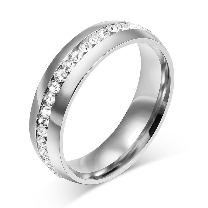 Vnox Hitam Cincin Kristal Cincin Kawin untuk Jam Tangan Wanita Stainless Steel Jelas Zirkonia-Intl
