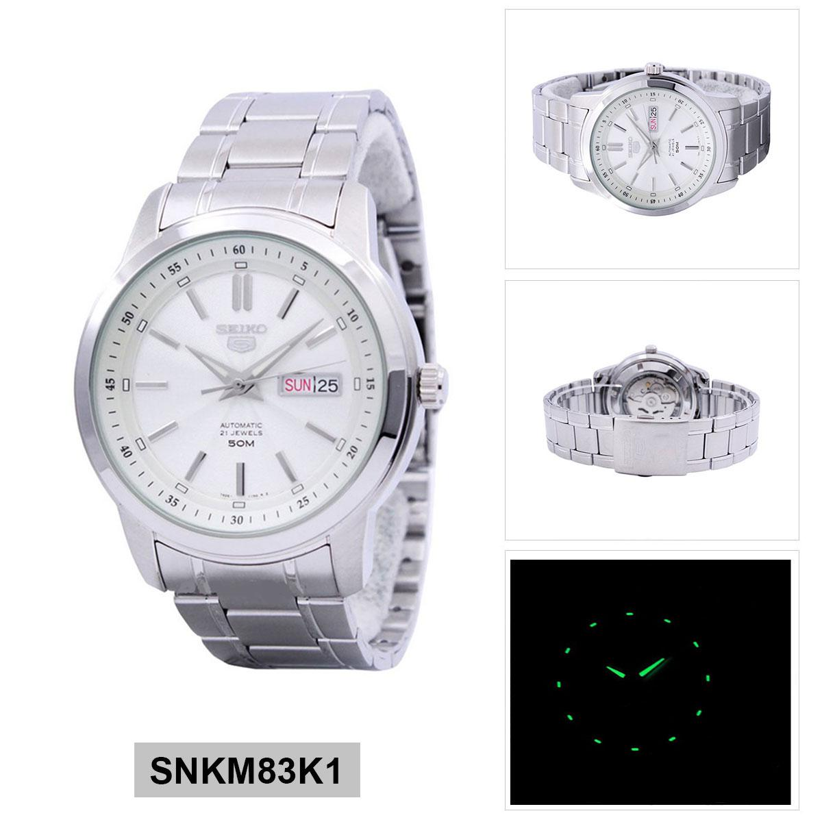 Buy Seiko Seiko 5 Automatic Silver Stainless Steel Case Stainless Steel Bracelet Mens Snkm83K1 Seiko Cheap