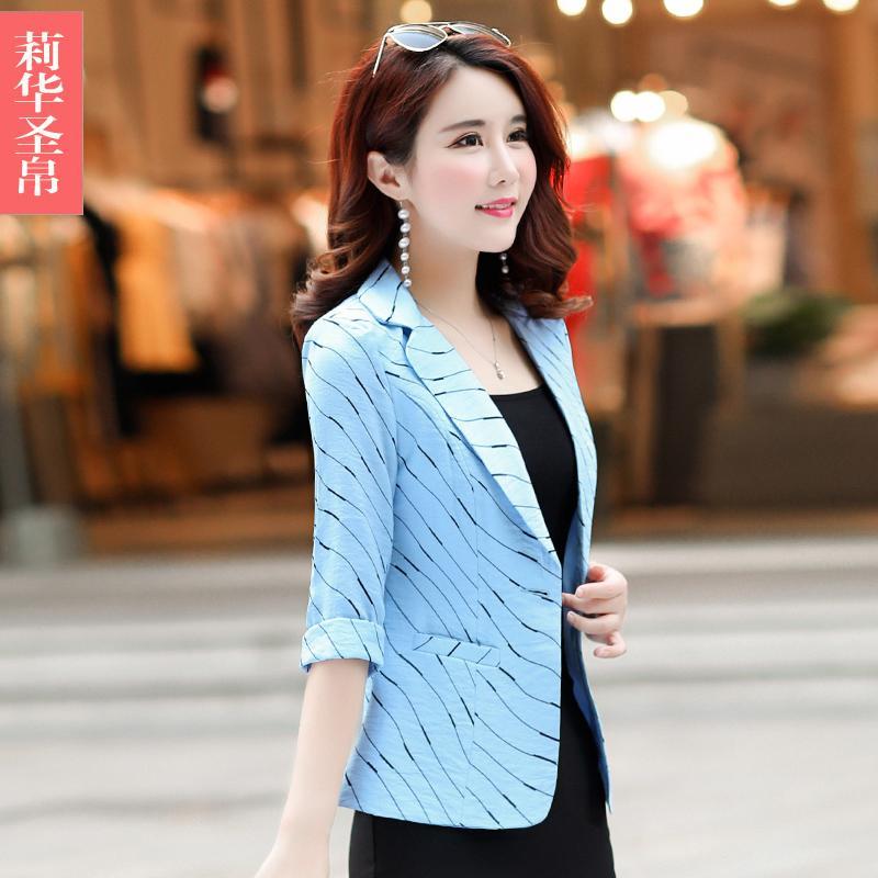 Casual motif garis Setelan jas kecil jaket wanita musim panas Versi Santai Korea model pendek musim gugur Elegan lengan tanggung Setelan jas mini membentuk tubuh - 5