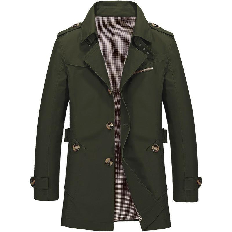 58471792b31 Hemiks Men's Trench Coat Notch Lapel Lightweight Slim Fit Single Breasted  Windbreaker Jacket (Army Green)