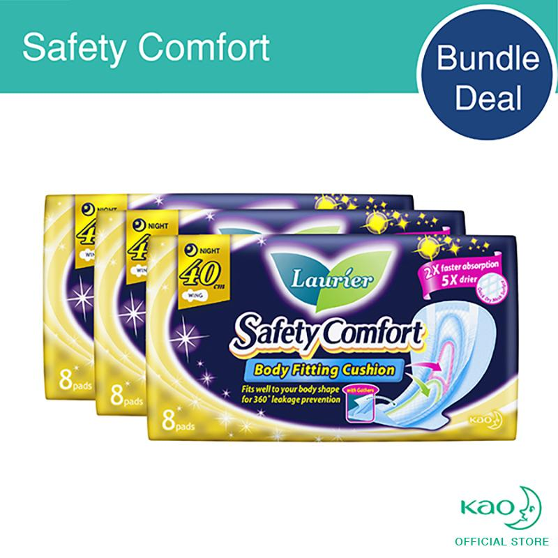 List Price Laurier Safety Comfort Night Slim Wings With Gathers 40Cm 8Pcs Triple Pack Laurier