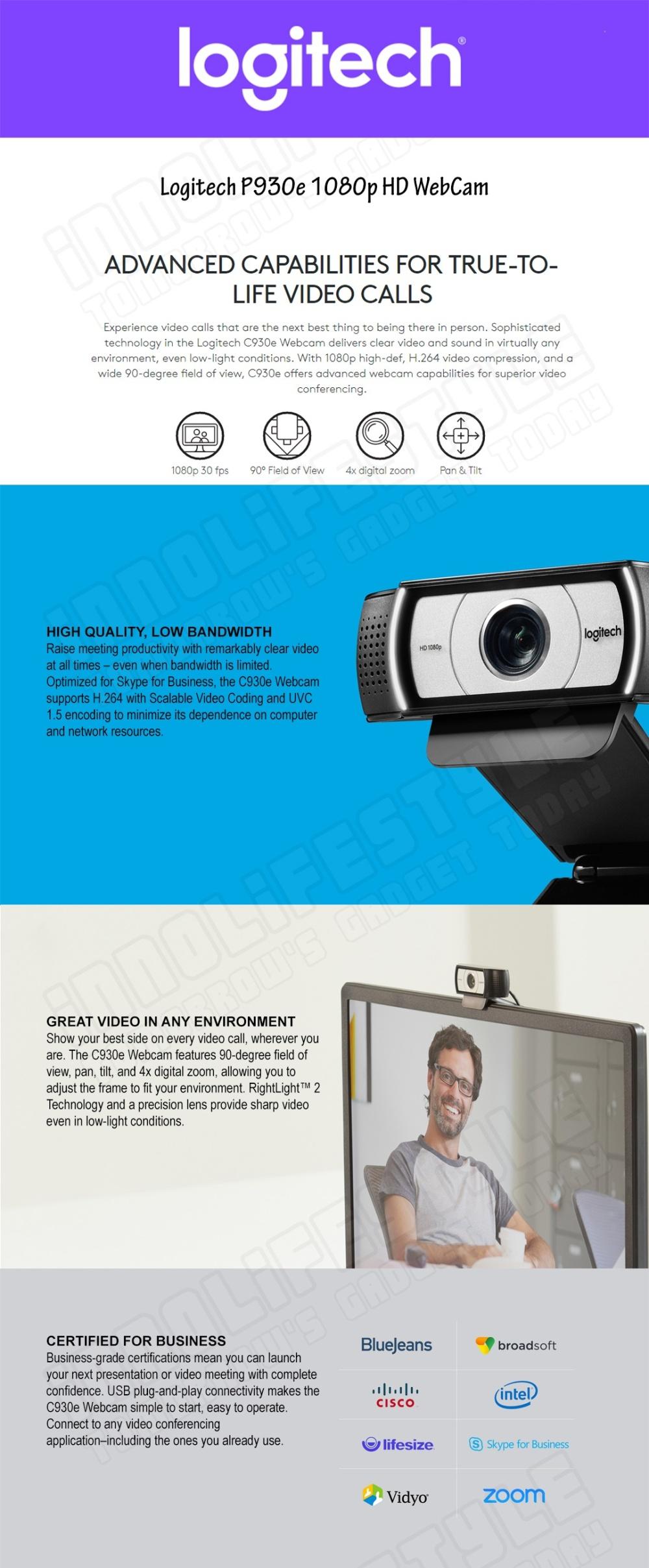 Logitech C930e 1080p HD USB Webcam