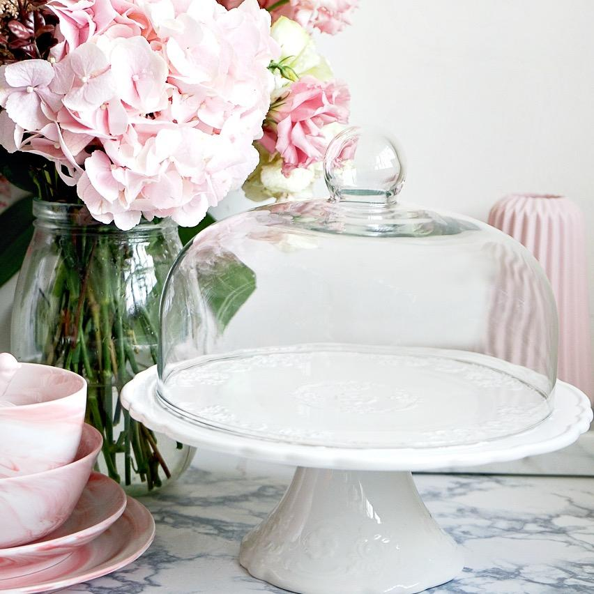 Where Can I Buy Fika White Embossed Round Cake Stand With Dome