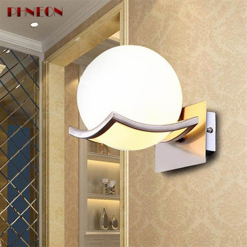 PHNEON Unique And Novelty Led Wall Lamps Glass Ball Wall Lights For Home E27 Ac85-265v