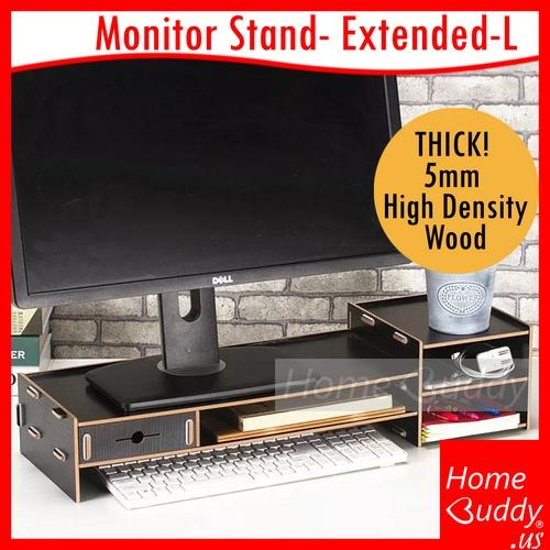 Monitor/ Laptop Stand: version EXTENDED-L 65cm_ THICK 5mm High Density Wood_ READY Stocks SG. Reach you 2 to 4 work days_ HomeBuddy_ Acev Pacific_ home office furniture Filing cabinets