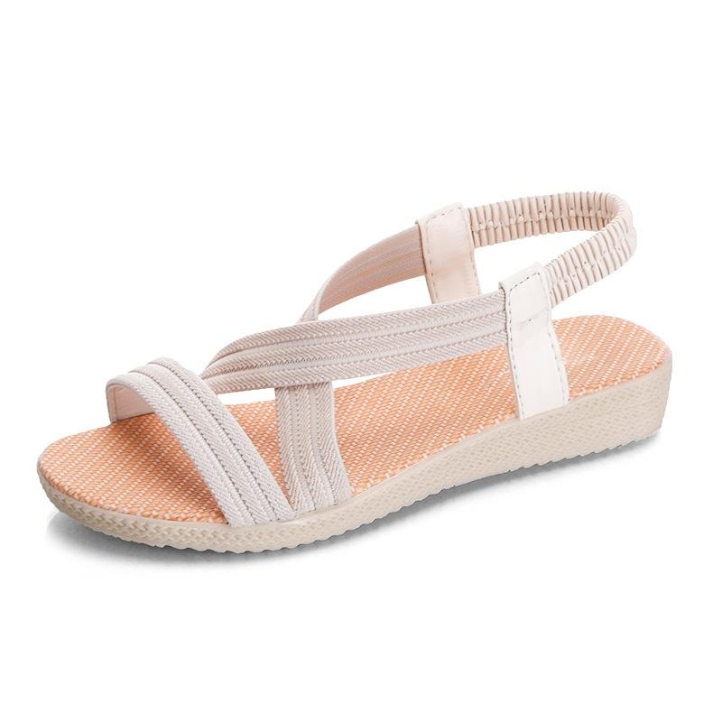 7d49d3ef8b0f Women Summer Sandals Plus Size Wedges Shoes For Female Elastic Band Flat  Sandal For Woman Gladiator
