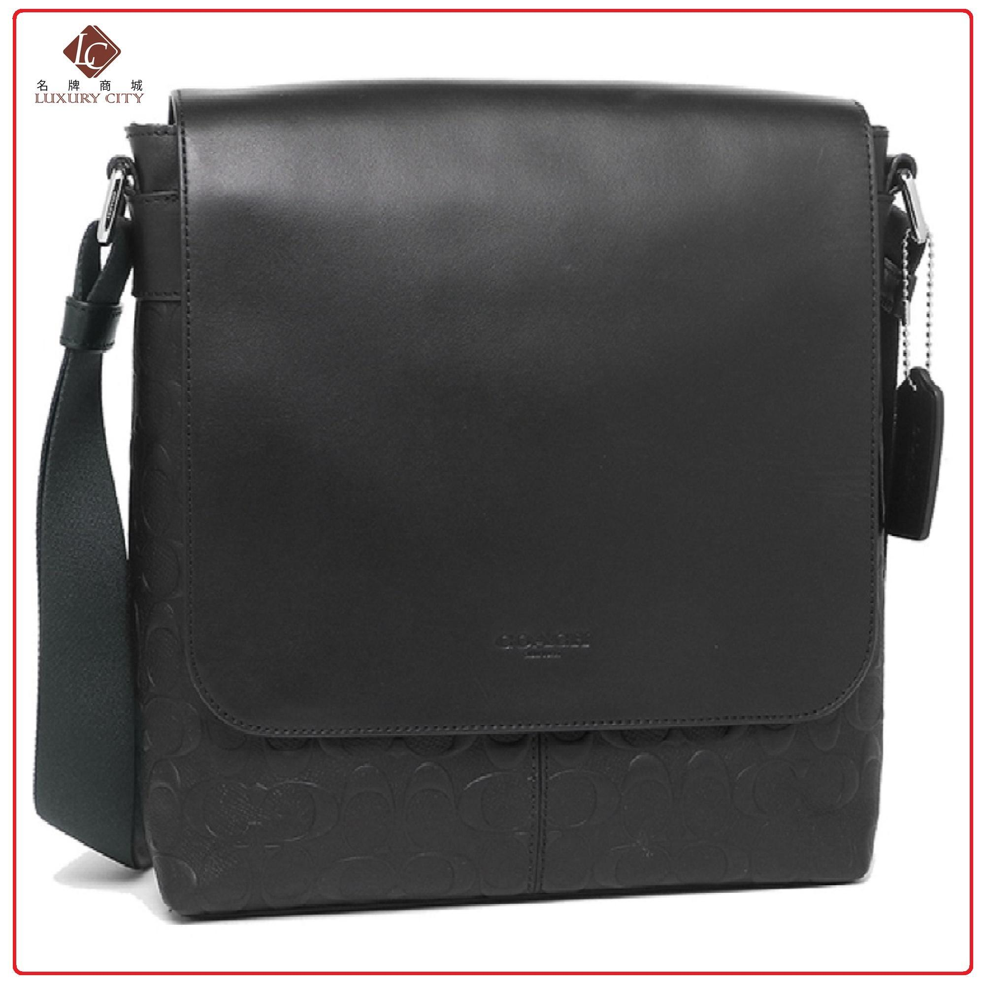 COACH CHARLES SMALL MESSENGER IN SIGNATURE LEATHER F28577 (BLACK) c3d396379ddbc