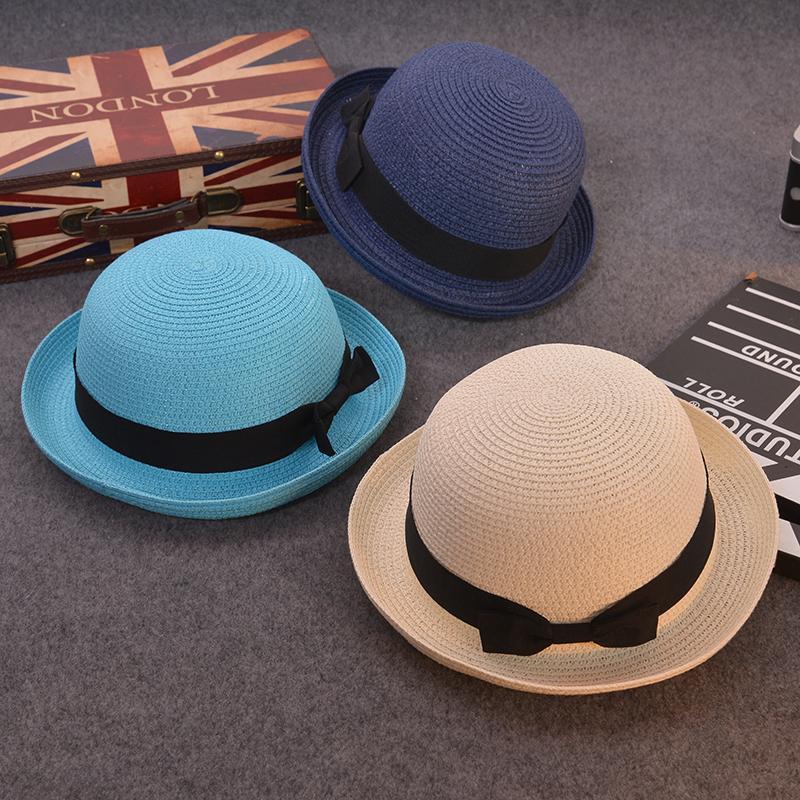 ... Pantai Topi Curling Cooljie Ide Putih; Page - 5. Anak model bulat kecil topi wanita Musim panas Gaya Korea Atas Bulat Topi