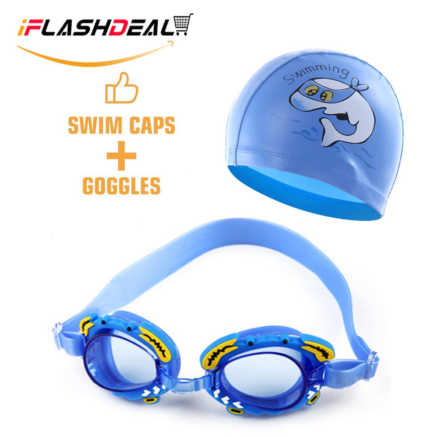 iFlashDeal Kids Swimming Goggles Swim Hat Cap Child (Age 4-12) Waterproof  Swim e720bd8907