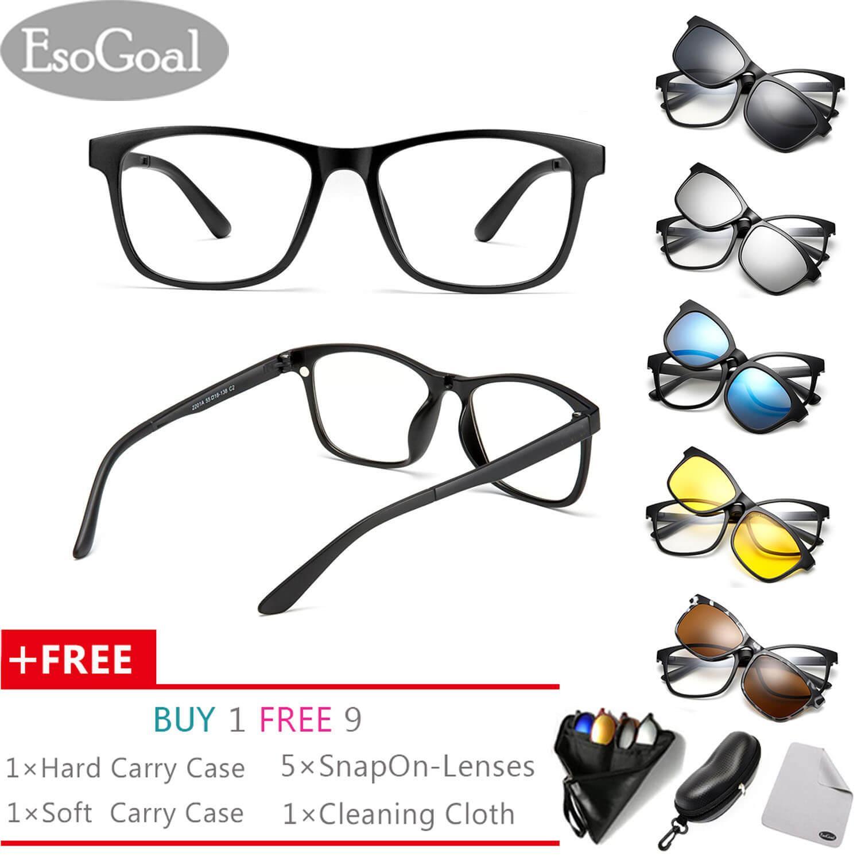 Price Compare Esogoal Magnetic Sunglasses Clip On Glasses Unisex Polarized Lenses Retro Frame With Set Of 5 Lenses