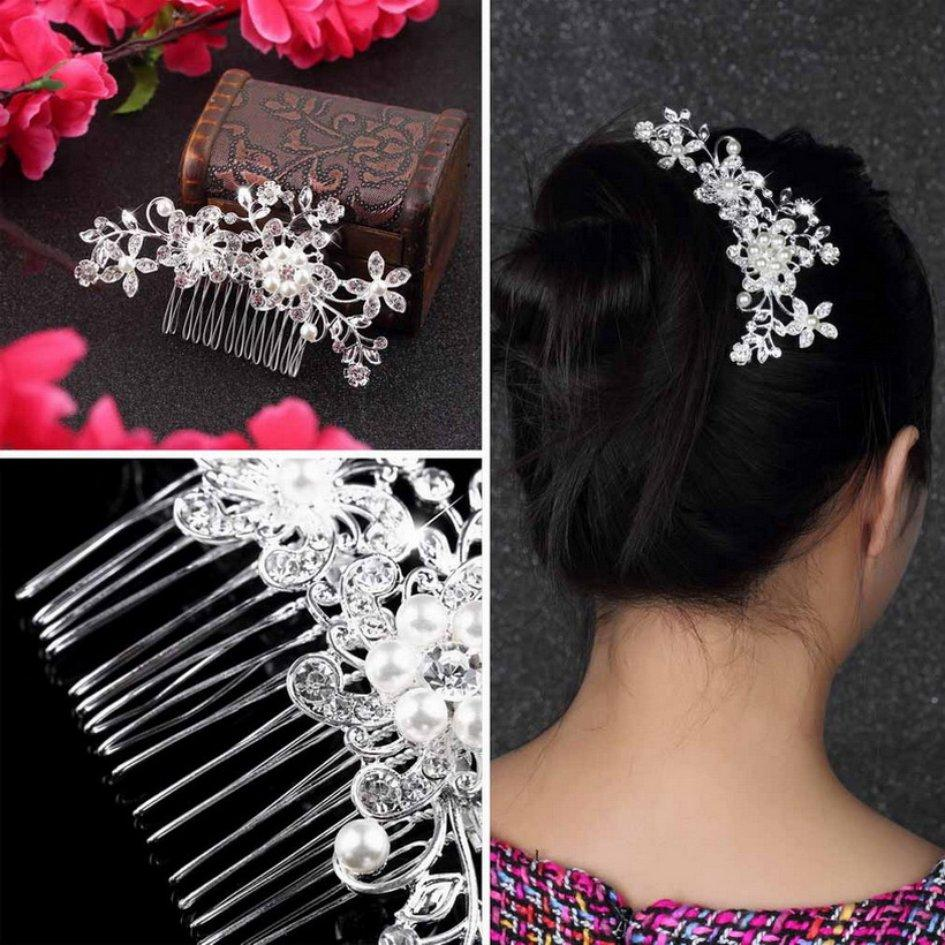 OH Diamond Bridal Wedding Flower Silver Plated Stunning Sparkling Hair Comb Pin