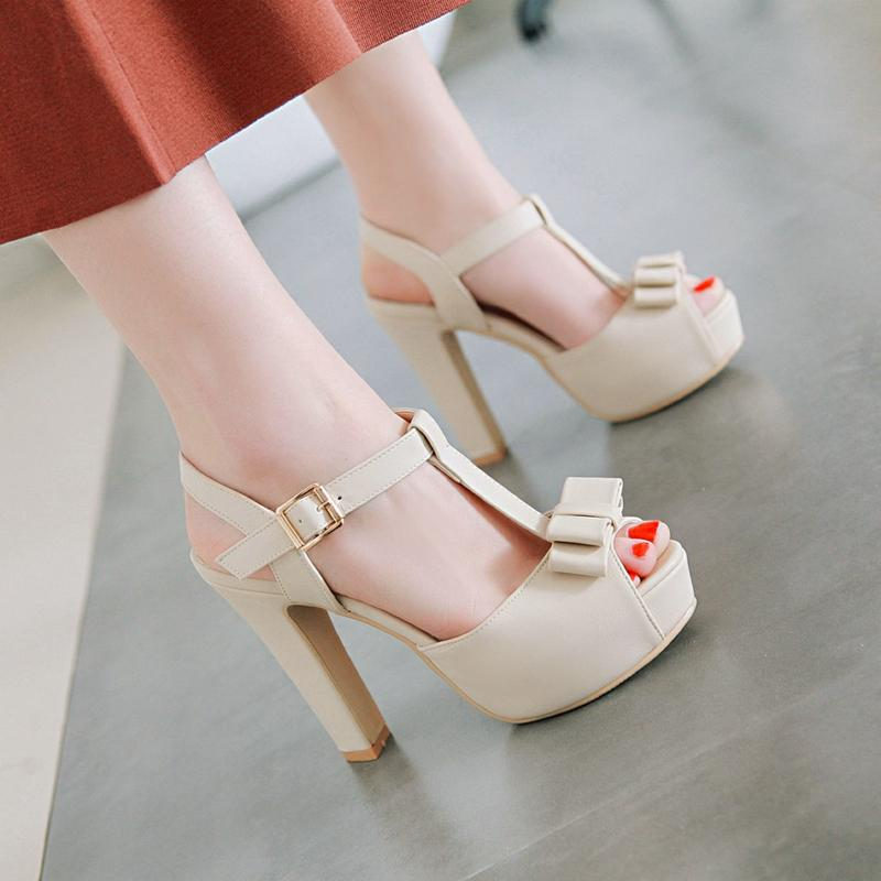 b3ff3380adb2 Sandals women 2018 New Style Sweet Bow Open-toed Shoes Chunky Heel High  Heel Shoes