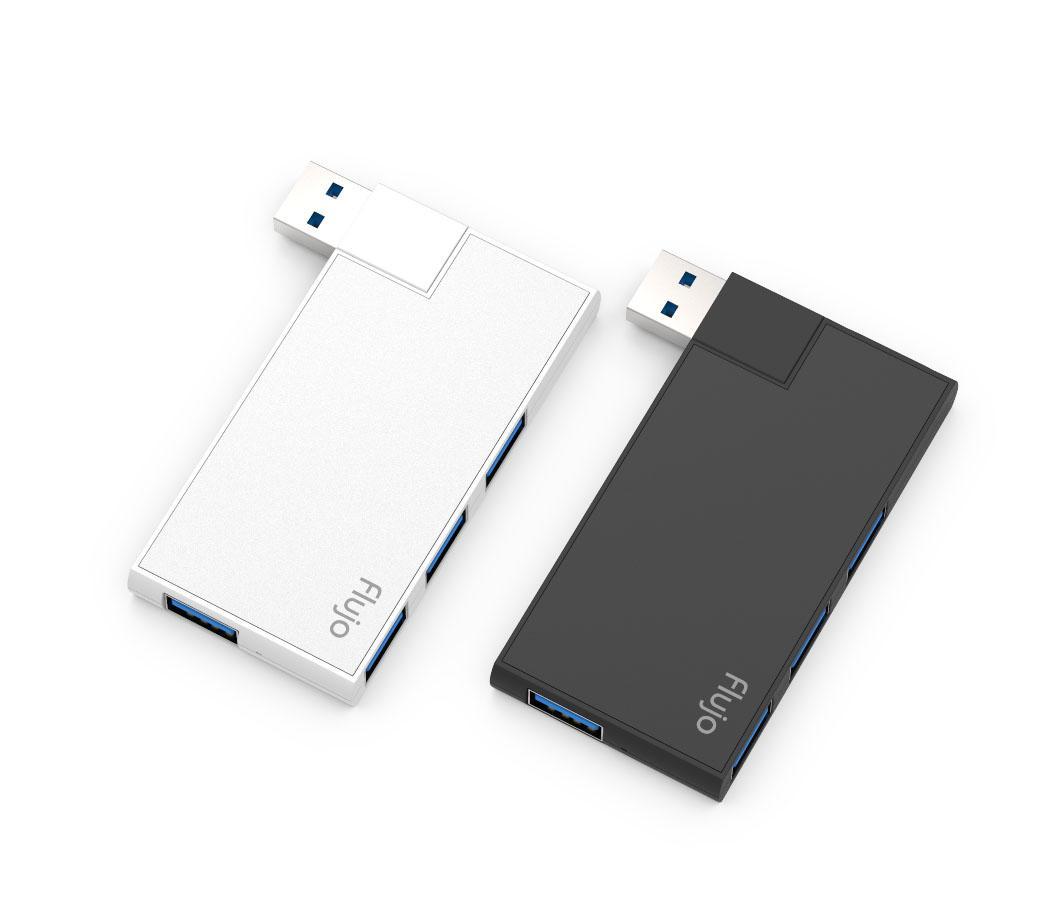 Flujo Aluminium 4-Port USB 3.0 Hub Adapter Splitter With USB 3.0(5Gbps Data Transfer) 180° Rotatable And Swiveling Connector for Microsoft Surface,New MacBook, ChromeBook Pixel, iMac, Surface, Lenovo Yoga(Black/Silver)