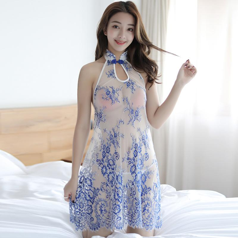 316e409aa5 Sexy lingerie womens court tri-color printing collar collar nightdress  cheongsam passion sexy long lace