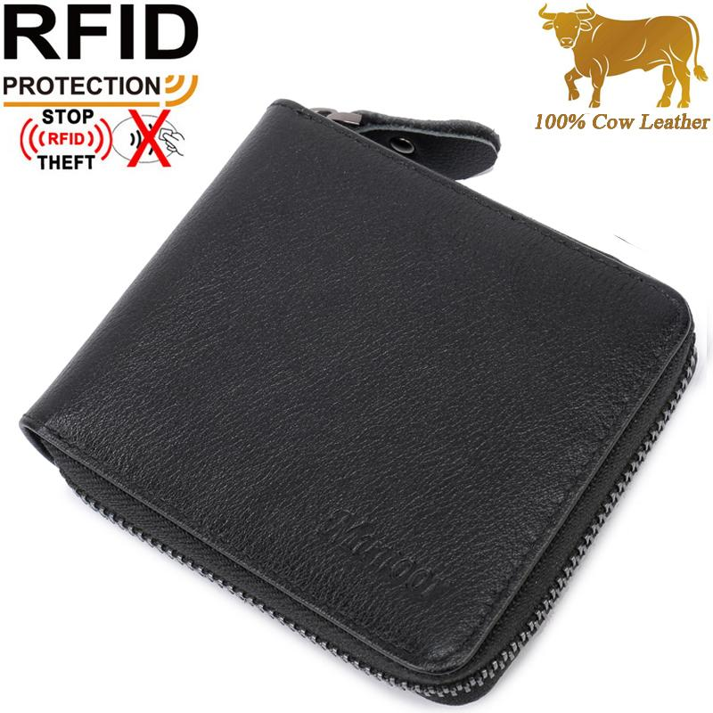 Top 10 Munoor Rfid Blocking Italian Genuine Cow Leather Mens Zipper Wallet Coin Pocket Intl