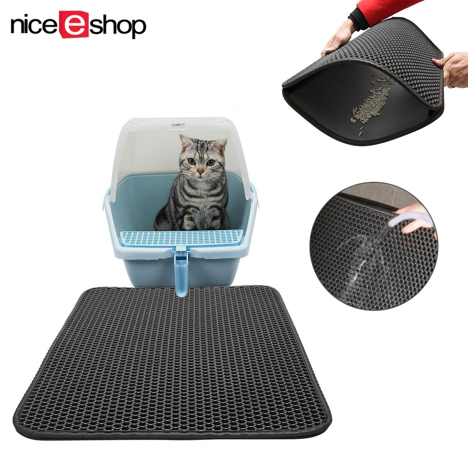 Niceeshop Water Proof Cat Litter Mat Double Layer Honeycomb Cat Feeding Mat Litter Trapping Size 40X50Cm Intl For Sale