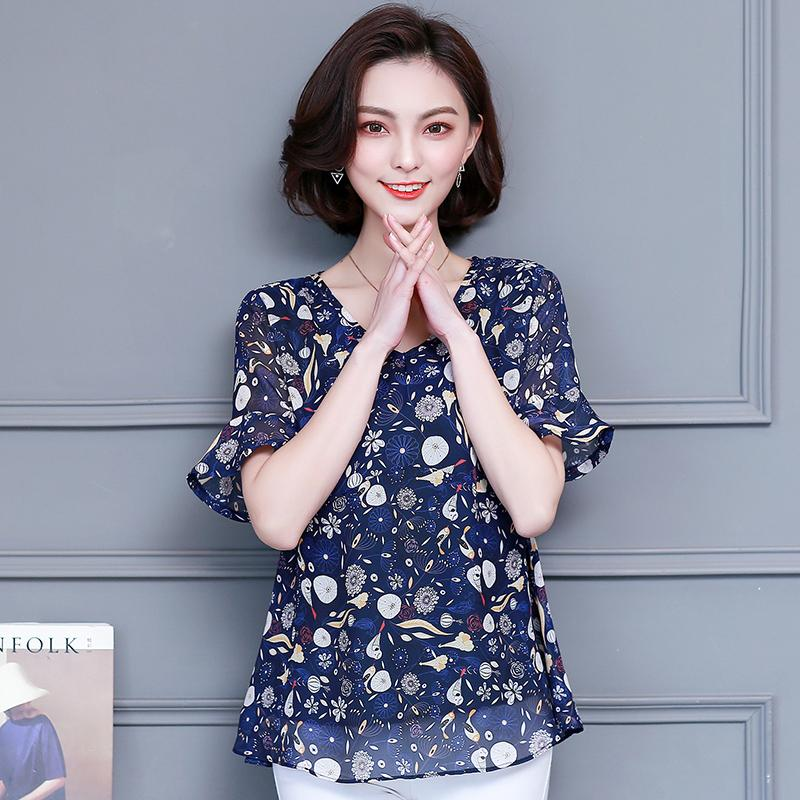 New Summer Plus Size Slim Chiffon Women Blouse Short Sleeve