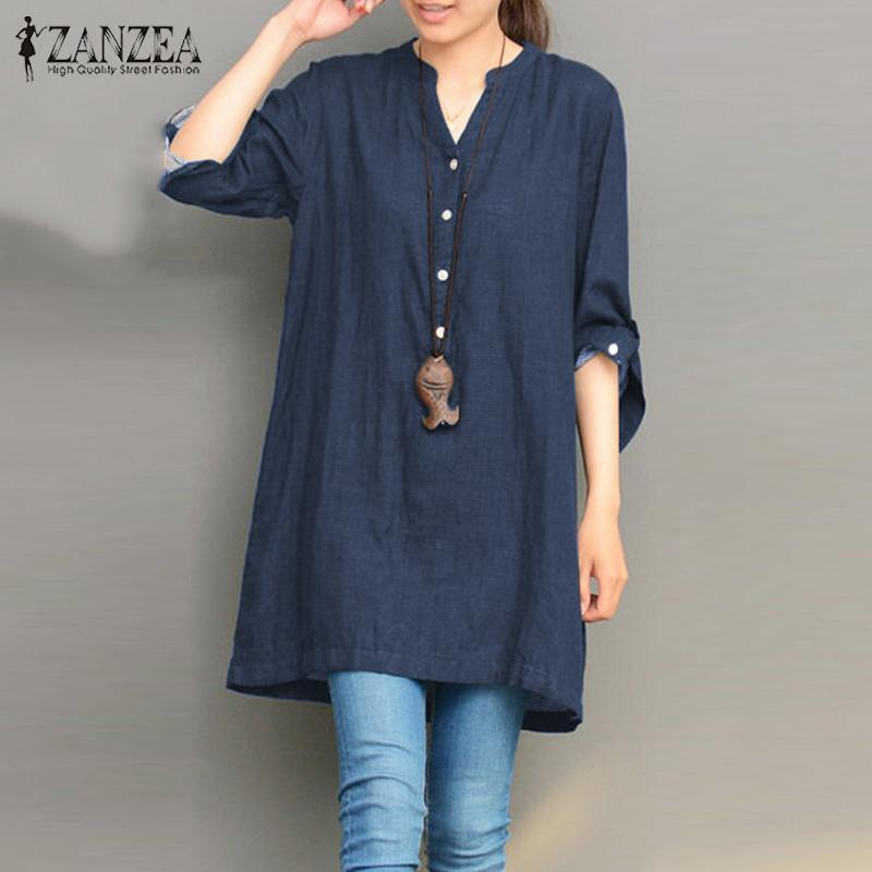 Retail Zanzea Spring Women Long Sleeve Buttons V Neck Solid Blouse Casual Baggy Tops Work Office Lady Retro Loose Shirts Plus Size Intl