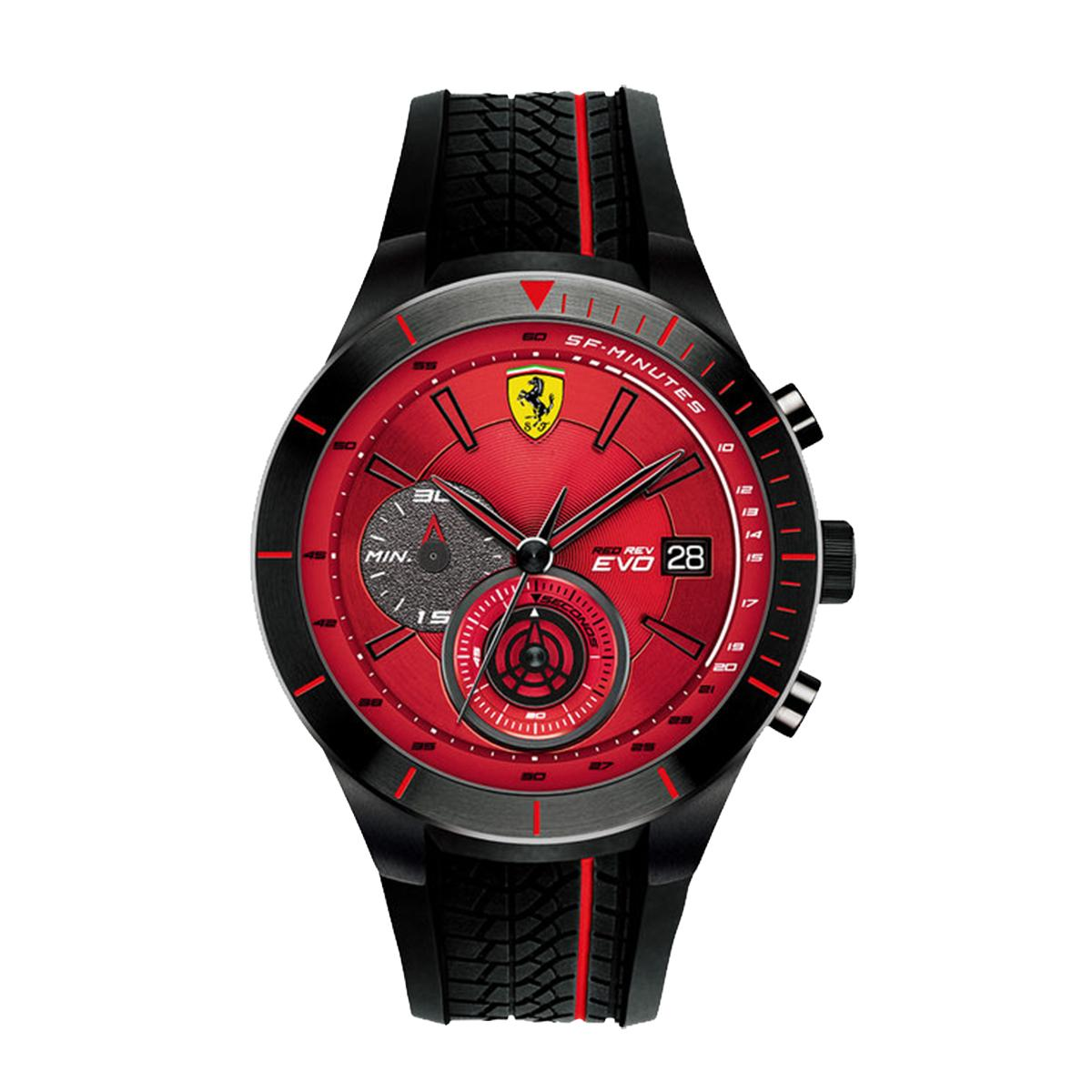 Ferrari Watch Redrev Evo Black Stainless Steel Case Rubber Strap Mens 0830343 Compare Prices