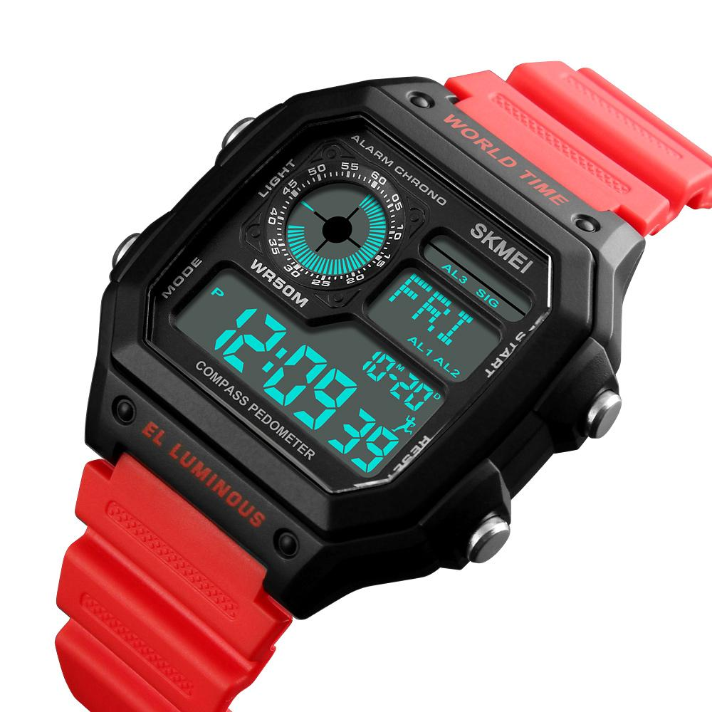 SKMEI Men Sports Watch Outdoor Digital Watches Calories World Time Men Clocks Fashion Watches 1373 Malaysia