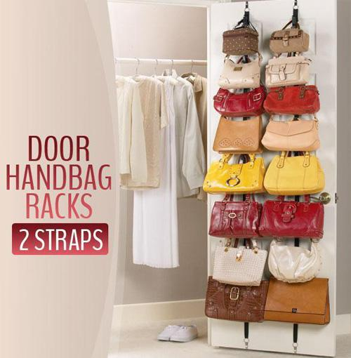 Adjustable Bag Rack Over Door Straps Hanger Handbags Clothes Organizer