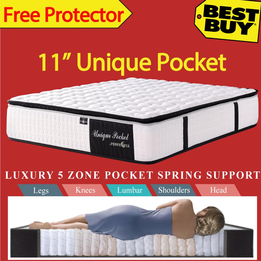 Queen Size Unique Pocket Mattress 11 Inches 5 Zone Individually Pocketed Spring Free Protector Best Price