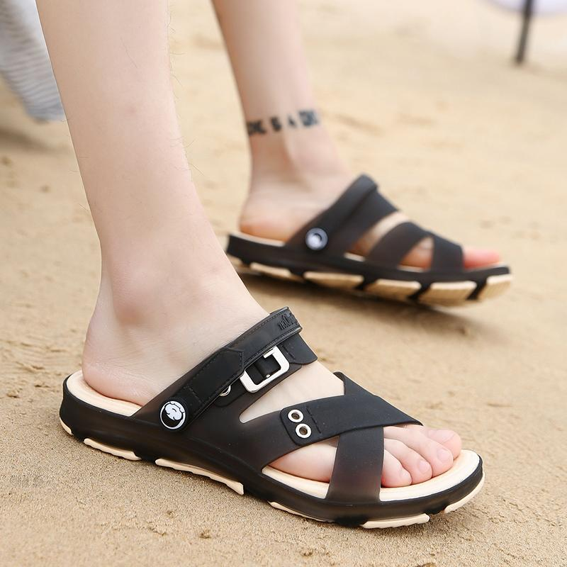 2018 model baru musim panas Pria Sandal Summer casual Sandal pantai Anti Selip Anti Bau murid sandal dwiguna diluar ruangan sepatu berlubang - 5