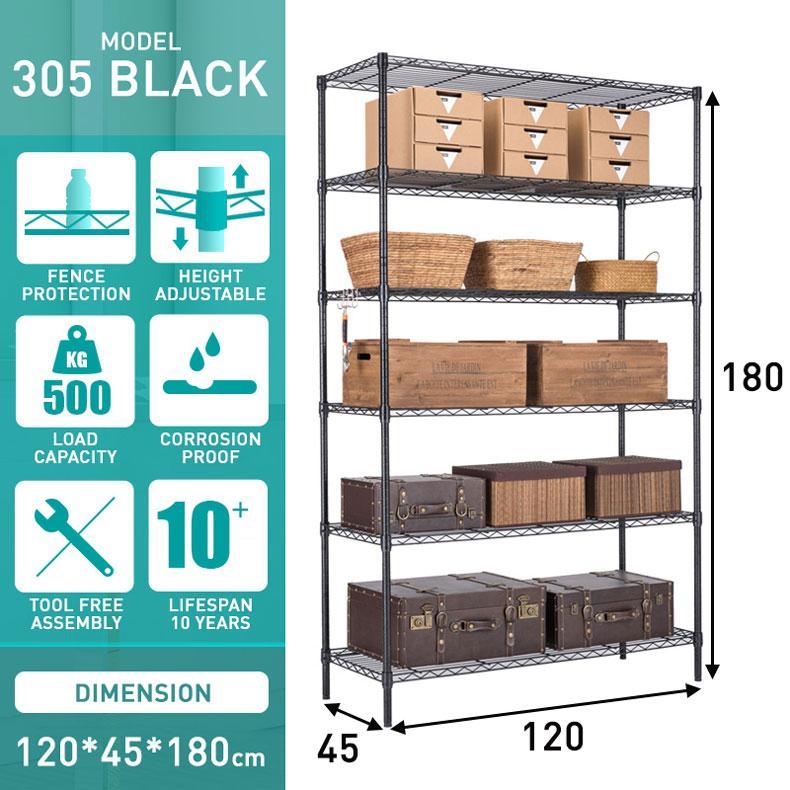 Balcony Plant Storage Rack Floor Stand Shelf Organizer Warehouse Store Room Heavy Duty Shelves 5 Tier Carbon Steel Adjustable Height Black 305B