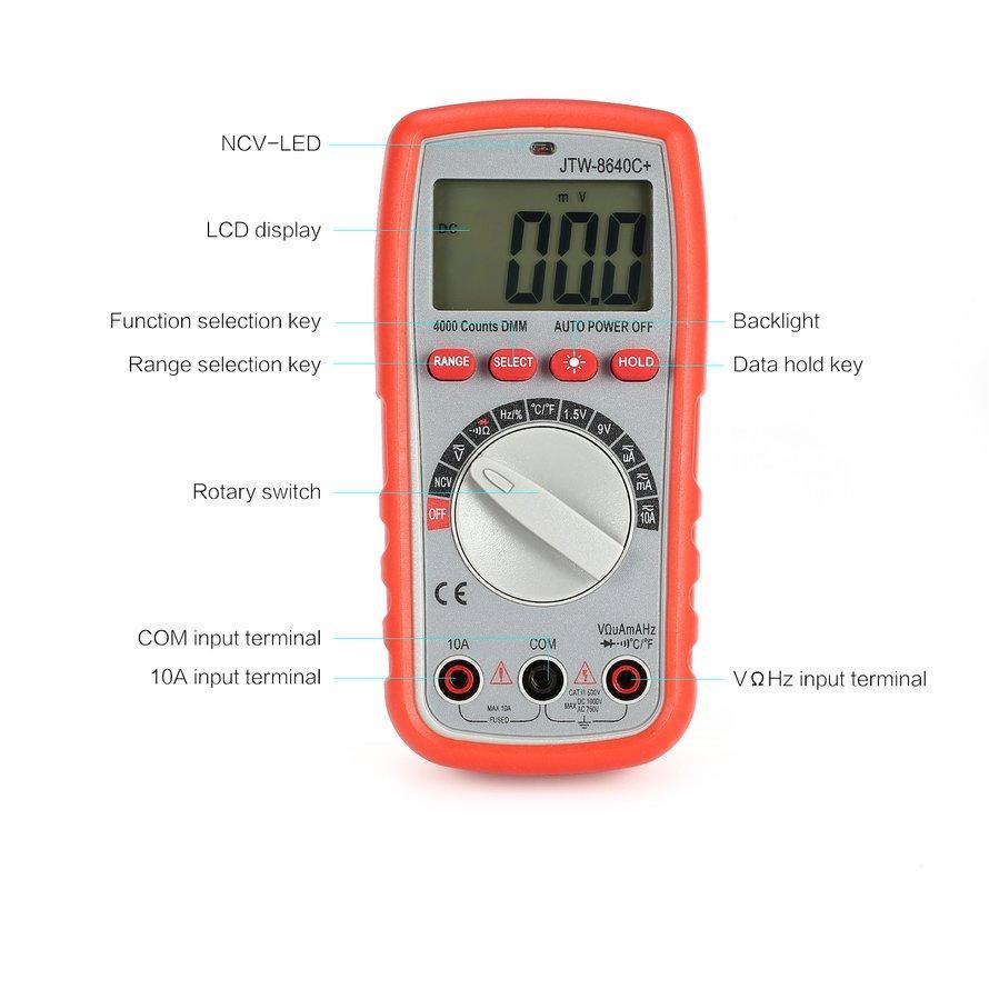 Osman JTW-8640C + Multimeter Digital AC/Tegangan DC Amp Diode Ohm Ncv Penguji