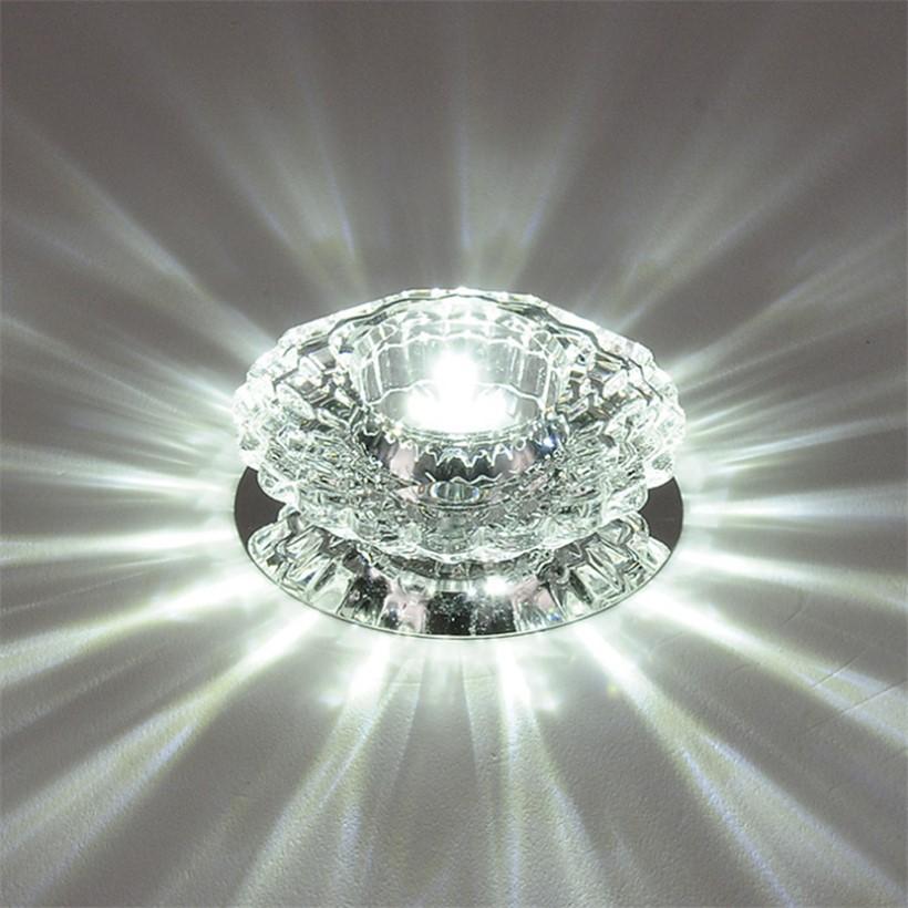 YOCHO LED Crystal Aisle Celling Light AC 220V 3W Corridor Lights Embeded Mounted Acrylic Living Room Indoor Decor Lamp - intl