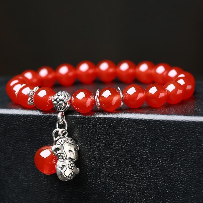 【8mm batu akik merah + manik-manik besar + kuda】Mode kristal merah