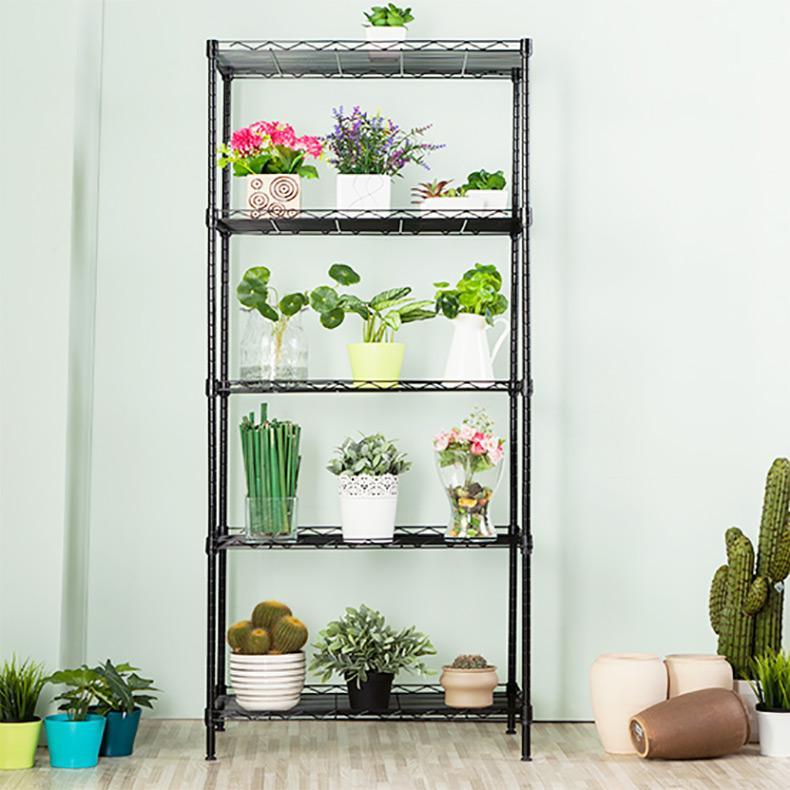 5 Tier Balcony Pot Plant Storage Rack Outdoor Flower Pot Organizer Shelf Silver 301S