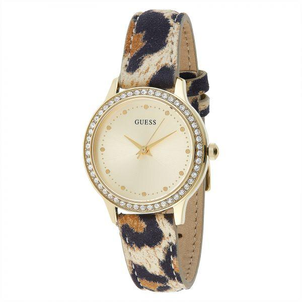 749ffa549990 Authentic GUESS W0648L8 Ladies Chelsea Gold Dial Leather Strap Watch