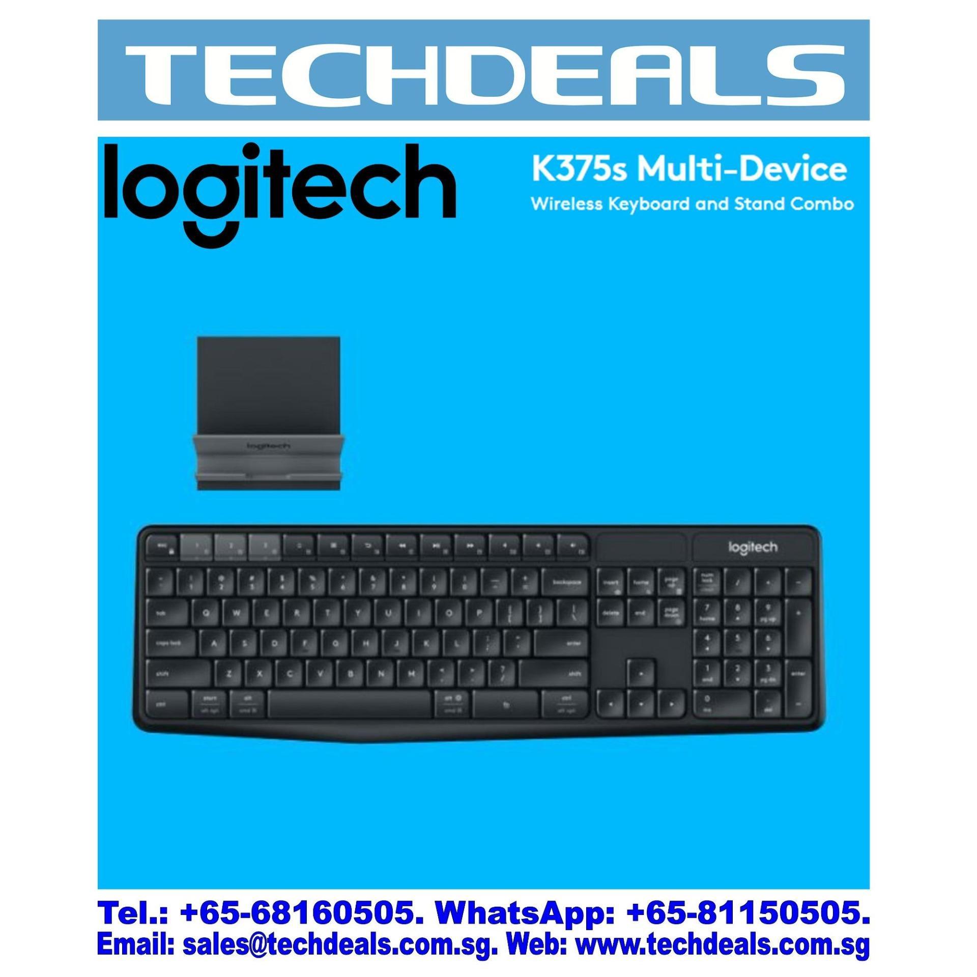 Logitech K375s Multi Device Wireless Keyboard And Stand Combo Black Kombo Dan Dudukan 1y