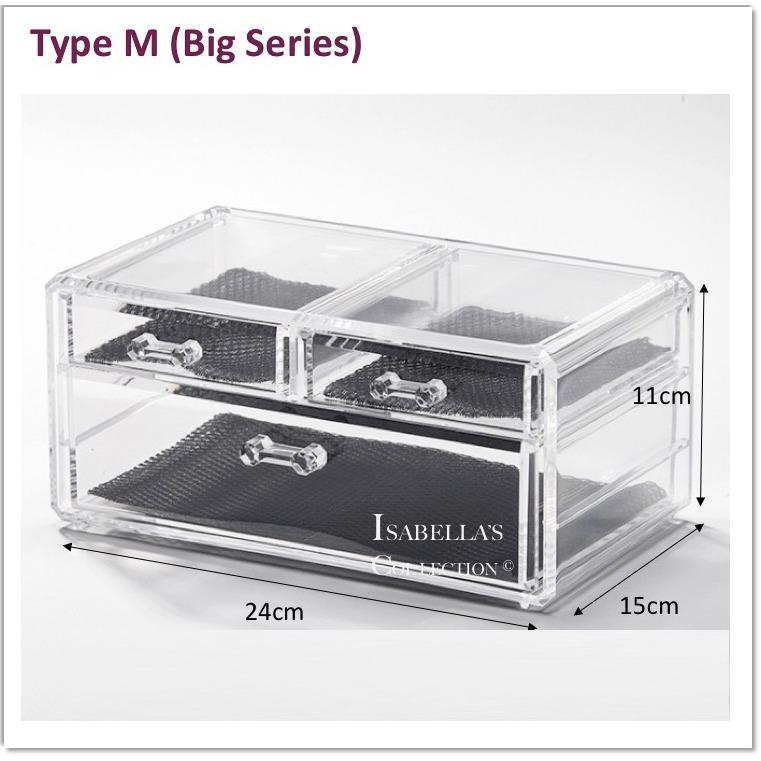 Buying Type M Big Series Stackable Acrylic Cosmetic Organizer Clear Transparent Makeup Organiser Jewelry Storage Box Drawer Lipstick Brush Holder Nail Varnish Polish Case Container