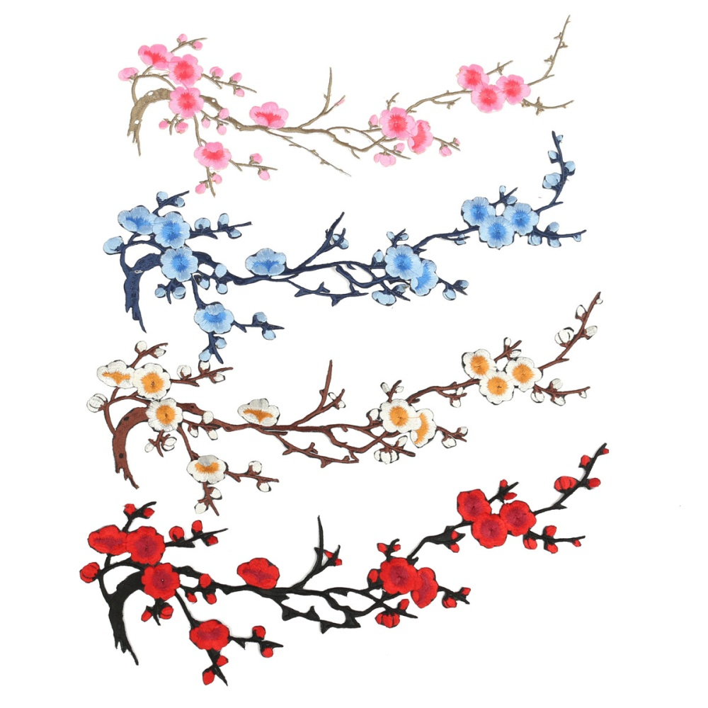 Beautiful Embroidered Plum Blossom Flower Patch Ironsew On Applique