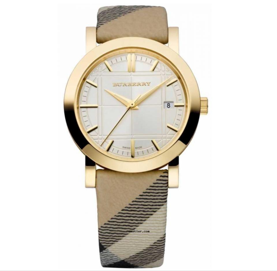 Burberry Check Engraved Leather Strap Gold Watch Bu1398 Discount Code