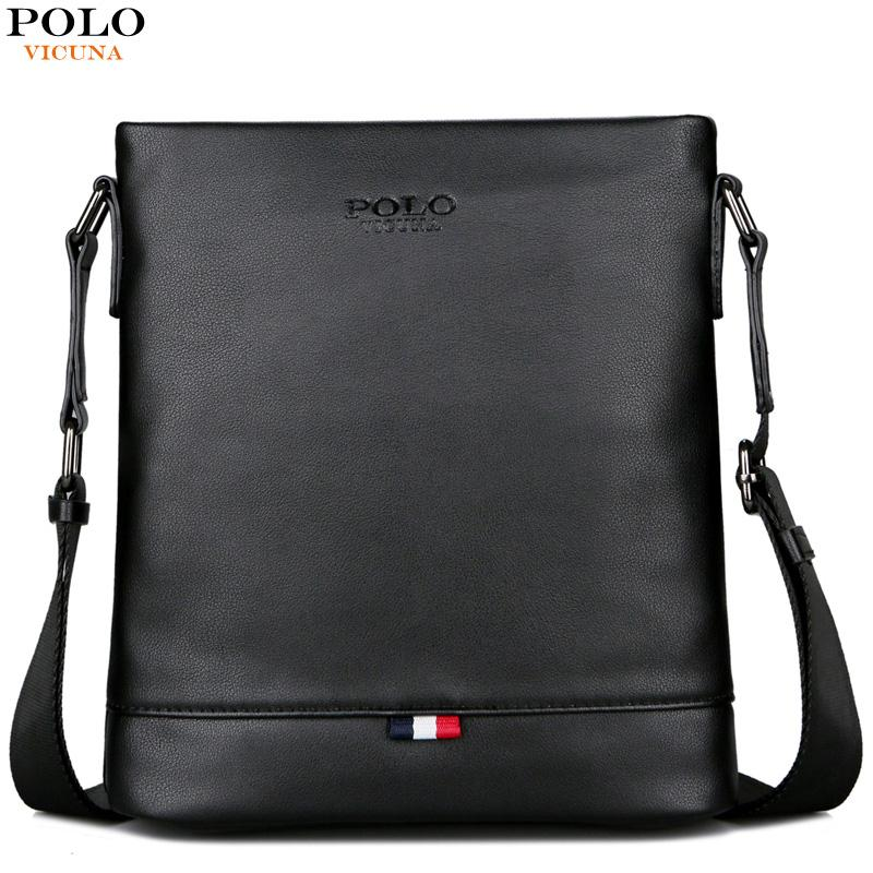 f36b9ee50a65 VICUNA POLO Classic Men Pure Color Messenger Bag With Back Pocket Man  Handbag Beach Bag Black