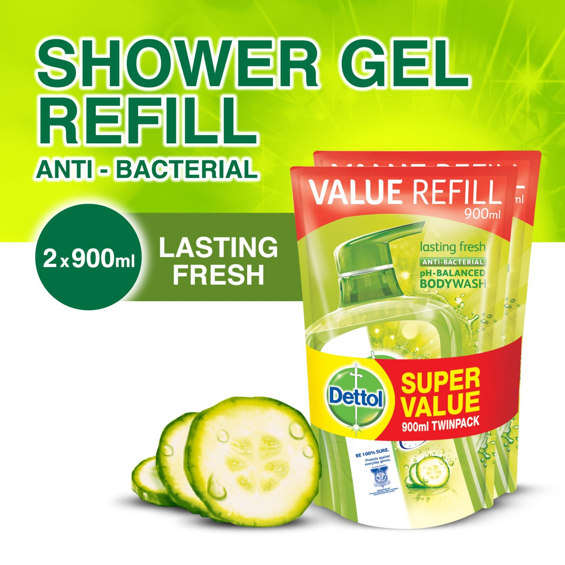 Wholesale Dettol Lasting Fresh Body Wash Refill Pouch Twin Pack 900Ml X 2
